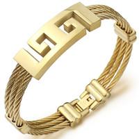 Designer braccialetto all'ingrosso tre cerchi filo intrecciato corda della canapa dell'acciaio inossidabile degli uomini Bracciali Uomo Bracciale in oro Tyrant design