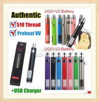 Otantik UGO-V II 2 510 Konu Vape Kalem UGO V3 Değişken Voltaj Onceden EVOD Pil Setleri ile eGo Şarj Mikro USB Geçiş ecigs