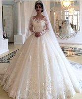 Vintage Long Sleeve Wedding Dresses 2019 New Lace Applique F...