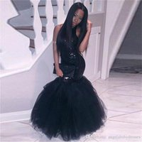 Elegant Black Girl sirène robes de bal africaines tenues de soirée, plus la taille longue paillettes sexy robes dos nu pas cher Party Homecoming Dress HD013