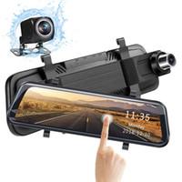"""1080P FHD flusso auto specchio retrovisore DVR registratore multimediale camma doppia 2Cr anteriore 170 ° posteriore 145 ° vista 10"""" touch screen 2,5D vetro curvo"""