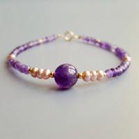 Lü Ji natürliche Amethyst, Rosa, Lila Süßwasser-Zuchtperlen Armband 925 Sterlingsilber Empfindliche Armband für Frauen Schmuck