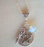 Hot Moda Vintage Prata Pentagrama Terra Goddess Moonstone Encantos Pingentes Colar Praízes Proteção Espiritual DIY Jóias - 40