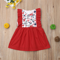 Kids Baby Girl Red Princess Dress Flower Ruffle Red Dresses ...