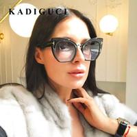 KADIGUCI أزياء المرأة القط العين النظارات الشمسية العلامة التجارية مصمم خمر المتضخم النظارات الإناث القط العين النظارات UV400 K333