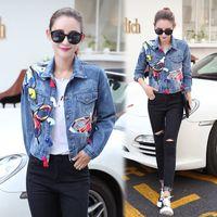Mode-bunte Schmetterling Stickerei Damen Jean Jacken Patch Designs Damen Denim Mäntel mit Quaste ausgefranst Slim Jacke blau