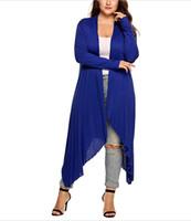 Женские вязаные тройники женские кардиганские куртки плюс размер осень открытый стежка твердая драпированная дама большой длинный свитер большой негабаритной XL-5XL