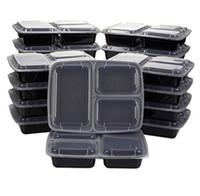 3 bölmeler Mikrodalga Gıda Depolama Tek Kullanımlık Yemek Hazıra Kapları + Kapak Yemek Hazırlık Parts Kontrolü Ile BENTO Kutusu Öğle Yemeği Kutusu Tepsisi