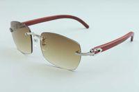 2020 di vendita diretta nuova fabbrica semplici occhiali da sole occhiali da sole A13-b3524012 lusso senza cornice romboidale lenti occhiali da sole tempio di legno naturali