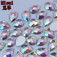 Micui 200PCS 8 * 13mm / 10 * 14mm / 13 * 18mm 물방울 Flatback 아크릴면 처리 된 모조 다이아몬드 접착제에 눈물 아크릴 비즈 홀 없음 ZZ719
