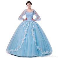 Scoop Neck Floor Length Ball Gown Quinceanera Dresses Flare Sleeves Sweet Debutante Dresses Custom Made CG01
