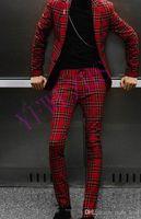 Apuesto padrinos de boda muesca solapa esmoquin novio para hombre vestido de novia Hombre Chaqueta Blazer Prom Cena 2 piezas traje (chaqueta + Pants + tie) 468