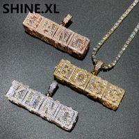 Hip hop nome personalizzato 3d cubo lettera collana ciondolo ghiacciato con zircone pieno rosa placcato oro gioielli gioielli regalo di Natale