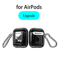 Plating Electroplated Cover Silicone Soft TPU Rubber Full Protective Case With Hook Clip For Apple AirPods 1 2 Wireless Bluetooth Earphone