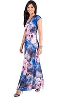 Vestidos casuais koh mulheres longa manga floral floral impressão v-pescoço boho verão fluxo maxi vestido