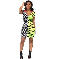 Günlük Elbiseler Zebra Çizgili Seksi Mini Elbise Kadın V Boyun Patchwork Sarı Streetwear Gece Kulübü Moda Kısa Yaz Bodycon