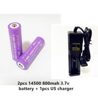 batteria al litio 800mAH StoveFire 14500 3.7v di alta qualità 2pcs + 1 pc del caricatore US / EU intelligente. il caricatore per 26650 18650 14500 16340 chahge