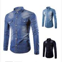 새로운 블랙 청바지 셔츠 남성 가을 패션 더블 포켓 Demin 셔츠 Casua 슬림핏 셔츠 슈 옴므 나포