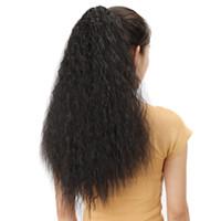 """Lungo Afro diritta crespa 26"""" Artiglio Coda di cavallo clip in un unico pezzo della coda di cavallino marrone nero sintetico di estensioni dei capelli termoresistenti dei capelli"""
