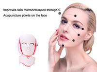 피부 미백 장치에 대한 미세 전류와 7 색 LED 조명 치료 얼굴 아름다움 기계 LED 얼굴 목 마스크