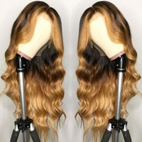 Brazilian Full Lace Remy Hair 13X6 Lace Front Wig Wavy Ombre...