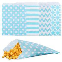Hochzeit Candy Bar Taschen Papier Süßigkeiten Taschen Kuchenaufbewahrung Snack-Geschenk Kinder für Buffet Papiertüte gestreifter Tupfen-Chevron 13x18cm 60 lot