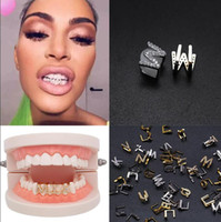 Or blanc Glacé A-Z Lettre personnalisée Grillz Full Diamond dents DIY Fang Grills cosplay dents Cap Hip Hop dents bouche dentaire Accolades T591