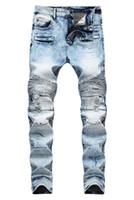 Erkekler Sıkıntılı Yırtık Skinny Jeans Moda Tasarımcısı Erkek Kot Ince Motosiklet Moto Biker Nedensel Erkek Kot Pantolon Hip Hop Erkek Kot Pantolon