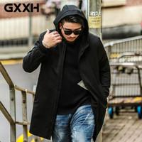 Trench da uomo GXXH 2021 Marchio di moda Giacche a vento Autunno Autunno Black Cappotto con cappuccio Black Uomo Abbigliamento Grande e alto maschio 7xl