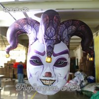 Customized Halloween Decorative Hanging Inflatable Medusa Head 2m/3m Clown Model Air Blown Mask Witch With 2 Faces For Nightclub Party Decoration
