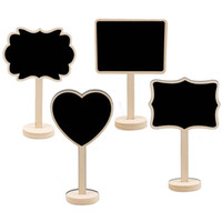 Mini Quadro De Madeira Chalkboard Stands Coração Retângulo Blackboard Sinais De Casamento Número Da Tabela Lugar Cartão Do Partido Lolly Buffet Bolo Topper