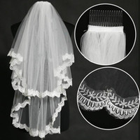 Hot Sales New 2T Layer Elbow Length Lace Edge White Ivory Beads Wedding Bridal Accessories Veil with Comb