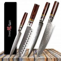 GRANDSHARP Damaskus Küchenmesser Set 4 Stücke Japanische Damaskus Stahl Küchenmesser Chef Santoku Schneiden Dienstprogramm Japanische Küchenmesser