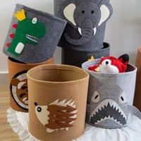 Дети Пеленки сумки Lion Box Pattern игрушки Войлок хранения Ковш моющийся Войлок грязной одежды Организатор Корзина Мультфильм пеленок Сумки CCA12131 1000шт