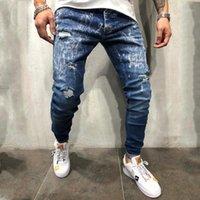 Kalem pantolon 20ss Yeni Hip Hop Man Giyim Erkek Gradient Renk Jeans Casual kar tanesi Skinny Ripped