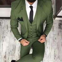 2021 Oliva Verde Uomo Abiti per lo sposo Tuxedos Tabello Drucco Slim Fit Blazer Tre pezzi Giacca Pantaloni Gilet uomo su misura Abbigliamento fatto