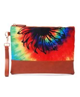 Venta al por mayor Tie Dye Cosmetic Bag Mixed Colors Wristlet Clutch Purse Rainbow Canvas Hand Wrist con girasol negro DOM-1081333