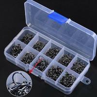 500pcs anzóis 10 tamanhos Pesca kit de prata preto Afiado Com Box Qualidade