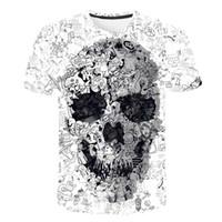 قميص مصمم أزياء أبيض ذو قميص جمجمة ثلاثي الأبعاد قميص رجل ذو قميص صيفي عالي الجودة