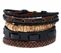 Europa und den Vereinigten Staaten populär Schmuckgrenzüberschreitenden Stromversorgers Weinlese geflochtene Lederanzug Armband 12pcs / lot