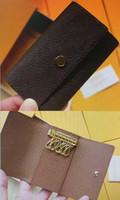 N41624 6 키 홀더 키 파우치 지갑 다미에 캔버스 카드 동전 지갑 열쇠 고리 여성 남성 클래식 여섯 열쇠 고리 패션 모노그램 키 체인 41624