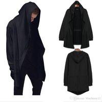 ربيع الخريف تصميم ملابس للرجال البلوز الهيب هوب غنيمة قلنسوة رجل مقنع سترة صوفية Mantissas الأسود عباءة خارجية M-3XL