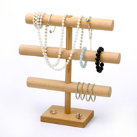 [DDisplay] Collier Hêtre à trois couches Collection affichage en T en bois Montre Porte-Bracelet Support Bijoux d'affichage Pendentif de stockage Orgainzer