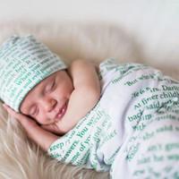 Младенец Детские письма Прием Blanket Пеленальный Wrap Blanket Сторибук Одеяло Фотография младенца завернуты ткань с Hat A264