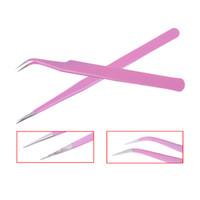 Pinzas de pestañas postizas profesionales de 1 pieza Extensiones de pestañas de acero inoxidable rosa Pinzas de curva recta Clip Herramienta de maquillaje de belleza