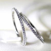 Tek Parça Satış 100% Orijinal 925 Ayar Gümüş İnce Yüzük Kadınlar Için Tam CZ Zirkon Yüzükler Nişan Moda Takı Hediye Accessori XR094