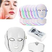 7 Color LED Mascarilla de cuello facial EMS Microelectronics Photon Remowing Skin Skin Rejuvenecimiento para la cara y la belleza DHL entrega