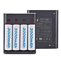 4 Slots LED cargador de batería recargable elegante Cargadores de 5V eficiente para AA / batería AAA Ni-MH / Ni-Cd recargable