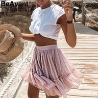 4453f4e38b Beavant Boho verano plisado mini faldas para mujer de cintura alta lunares  falda corta de color rosa una línea floral impreso volantes faldas de gasa  ...