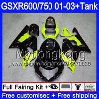+タンク用鈴木GSXR 600 750 GSXR-750 2003 2003 2003 294HM.49 GSX R750 R600 K1 GSX-R600 GSXR750 01 02 03フェアリングイエローグリーンBLK
